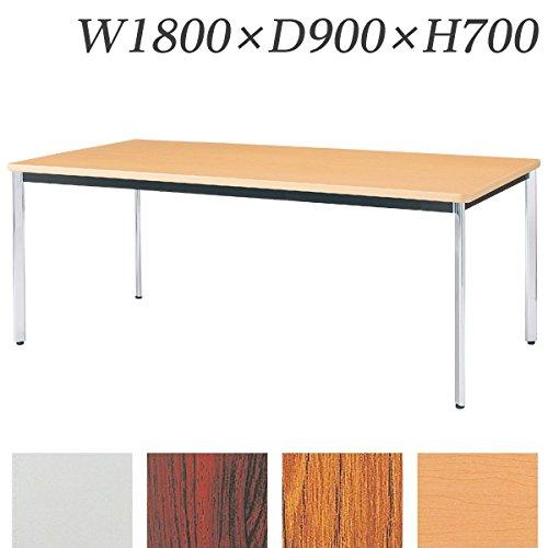 生興 テーブル KTD型会議用テーブル W1800×D900×H700 4本脚タイプ 棚なし KTD-1890O ホワイト B015XOK9Z8 ホワイト ホワイト