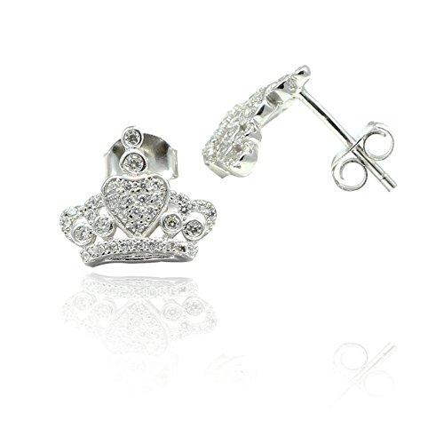 Heart Crown Stud Earrings Round Pave Cubic Zirconia 925 Sterling Silver Heart Crown - Earrings Crown Peridot Heart