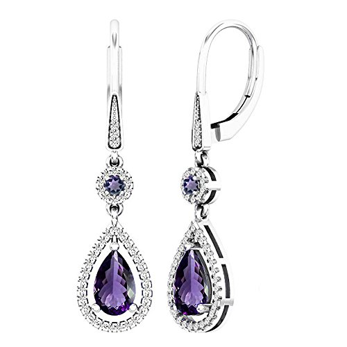 Dazzlingrock Collection 18K 8X5 MM Each Round & Pear Amethyst & Round Diamond Ladies Dangling Earrings, White Gold