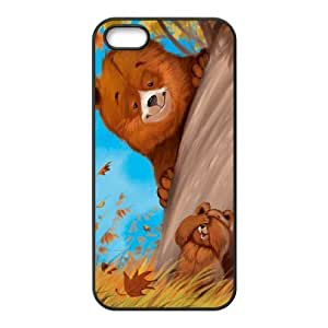 DIY Cover Case with Hard Shell Protection for Iphone 5,5S case with Cute cartoon bear lxa#980009