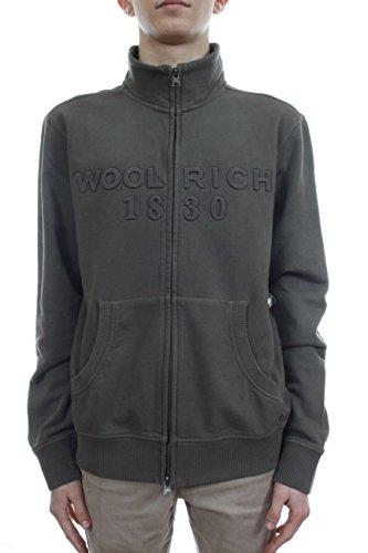 Uomo Militare Verde Full Woolrich Zip Felpa Logo qx4CPxgIw