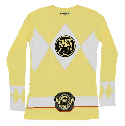[Mighty Morphin Power Rangers Yellow Long Sleeve Costume Adult T-Shirt Tee] (Yellow Ranger Costumes)