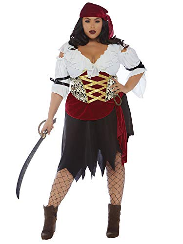 Leg Avenue Size Womens Plus High Seas Wench Pirate Costume, Multi, 1X-2X ()