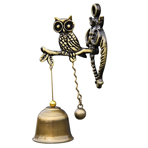 A.B Crew Vintage Style Retro Decorative Magnetic Suction Doorbell Outdoor/Indoor Bell Wind Chime Yard Garden Decoration(Owl) For Sale