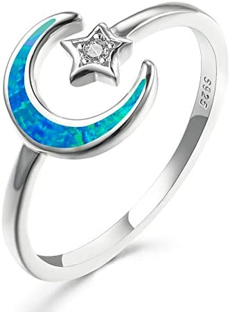 Details about  /Women// Girl 925 Sterling Gold Cubic Zircon Moon and Star Open Ring Size 5,8