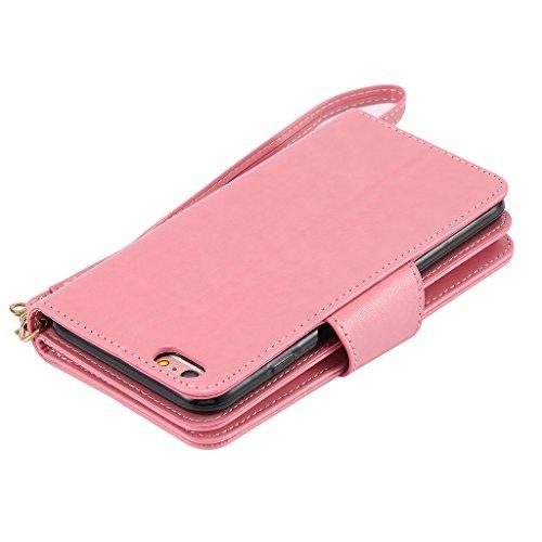 """Crisant 3D Mädchen Drucken Design schutzhülle für Apple iPhone 6 Plus / 6S Plus 5.5"""" (5,5''),PU Leder Wallet Handytasche Flip Case Cover Etui Schutz Tasche mit 9 Integrierten Card Kartensteckplätzen u"""