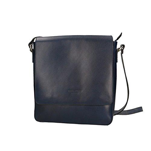 Aren Piel genuina Hombre Azul Shoulder Oscuro 25x28x7 Cm Bag Bolso Made Hombro in de Italy de para rZHr8Ywznq