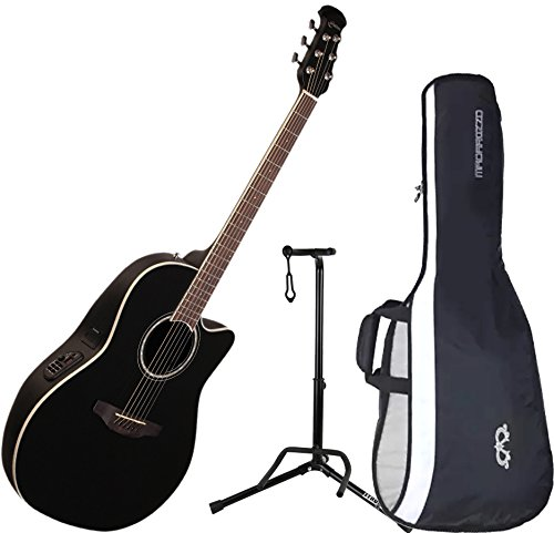 Ovation CS24-5 Celebrity Standard Mid-Depth Black Acoustic/Electric Guitar with Gig Bag and Guitar Stand -  CS24-5 BUNDLE