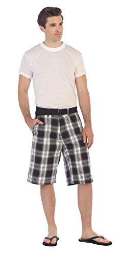 Gioberti Mens Plaid Shorts with Belt, Dark Brown/White, Size 32 ()