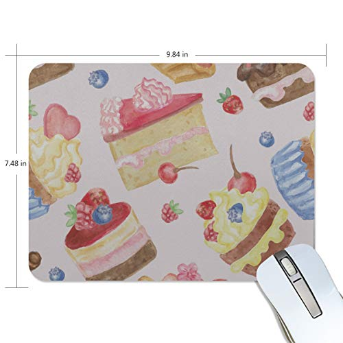 Fashion Retro Unique Custom Mousepad Colorful Delicious Food Sweet Girl Cartoon Printing Non-Slip Rectangle Natural Rubber Fabric Mouse Mat Gaming Mouse Pad ()