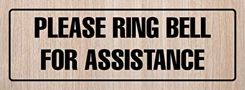 Metal iCandy Products Inc Please Ring Bell for Assistance Business Office Door Building Sign 3x9 Inches 2 Pack Dark Wood