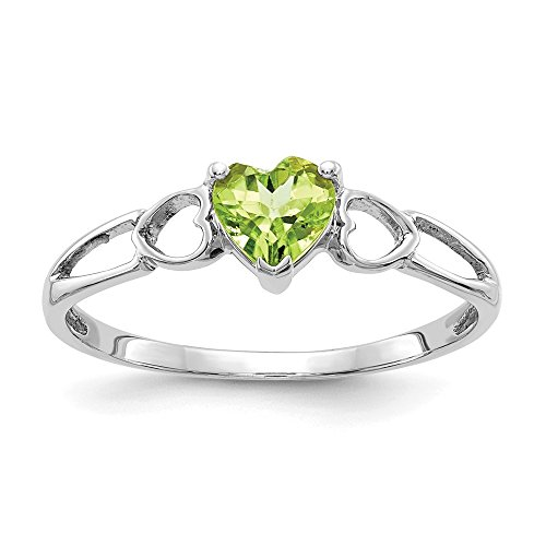 (Mia Diamonds 10k White Gold Polished Genuine Heart Shape Peridot Birth Month Ring)