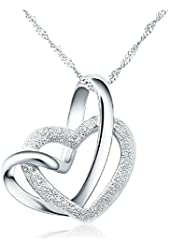 100% 925 Sterling Silver Loving You A Lifetime Interlocking Crafted Heart Shape Pendant Necklace For Women