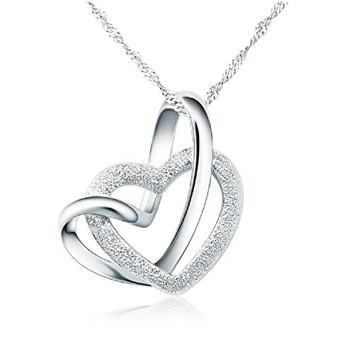 100% 925 Sterling Silver Loving You A Lifetime Interlocking Crafted Heart Shape Pendant Necklace (Heart 18inch)