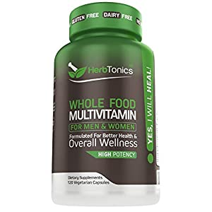 Whole Food Multivitamin for Women & Men with 62 Superfoods from Whole Food Markets Real Raw Veggies, Fruits, Vitamin E…