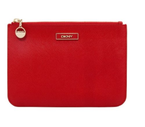 Dkny Red Leather - Dkny Saffiano Leather Large Flat Zipper Clutch Red
