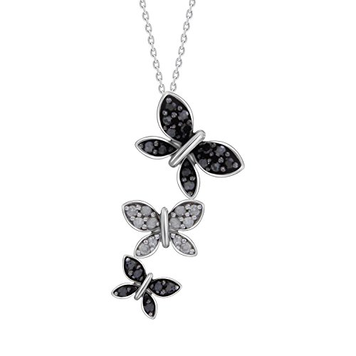 Black & White Round Diamond Butterfly Pendant with 18