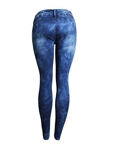 YFLTZ Jeans Noir Active Blue et Rouge en Pantalon Unie Coton Couleur pour Taille Gland Femmes qq6rR5vw