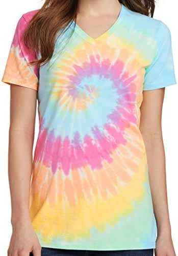 Yoga Clothing For You Ladies Tie Dye V-neck Tee Shirt