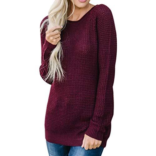 - Xinantime Comfy Women Knitwear Tops Ladies Knit Wrap Sweater Winter Warm Long Sweatshirt Solid O Neck Pullover Jumper