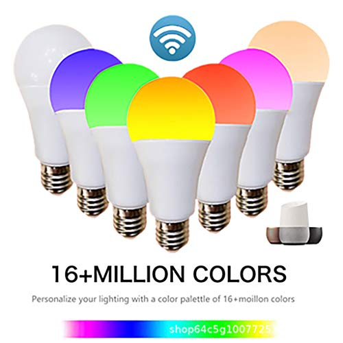 (Maikouhai Smart WiFi RGB CW Bulb A60 9W 34LED Colorful Color Compatible with Amazon Alexa and Google Home Helper E27-9W, Luminous Flux 810lm, Color Rendering Index 80-90, RGB + Cold Light+ Warm Ligh )