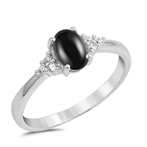 925 Sterling Silver Cabochon Natural Genuine Black Onyx Oval Ring Size ()