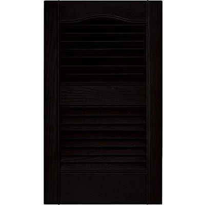 Builders Edge 12 in. Vinyl Louvered Shutters in Black - Set of 2 (12 in. W x 1 in. D x 64 in. H (5.97 lbs.))