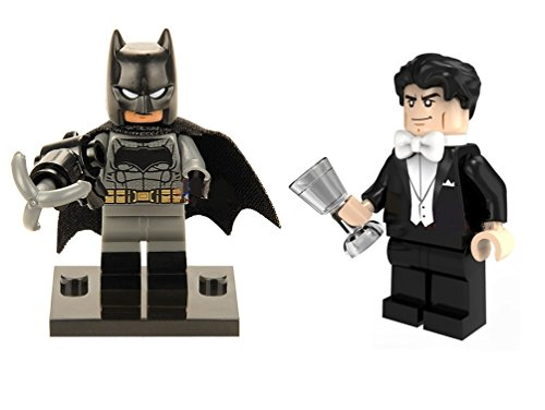 Comic Hero DC Building Blocks Batman and Bruce Wayne Custom Made Minifigure Set With Grapple Hook, Cape, Silver Glass Cup, and Mini Figure Stands Building Blocks (Batman and Bruce Wayne)