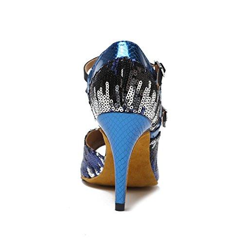 Minishion Gl236 Donna Sequin Stiletto Tacco Alto Sintetico Latino Sala Da Ballo Tango Salsa Scarpe Da Ballo Festa Di Nozze Sandali Prom Blu-8.5 Cm Tacco