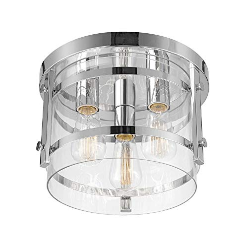 Globe Electric 60324 Wexford Light Flush Mount, Chrome with Clear Glass