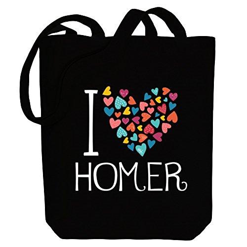 Idakoos I love Homer colorful hearts - US Städte - Bereich für Taschen