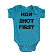 Apericots Funny Han Shot First Cute Soft Cotton Short Sleeve Infant Bodysuit (Newborn, Turquoise)