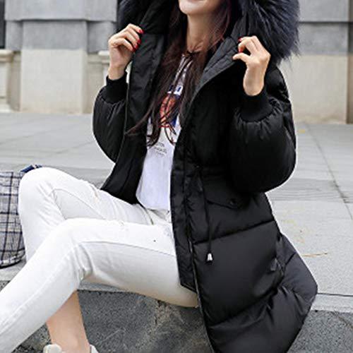 Invernale Lungo Piumino Nero Da Con Donna Cappotti Oplon Cappuccio In Pelliccia Sintetica Cappotto t5w8q8