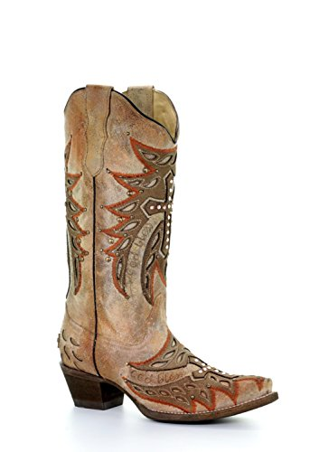 Corral Women's Wing Cross Embroidery Snip Toe Leather Cowgirl Boots - Bone (Corral Boots Women Cross)