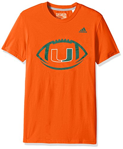 adidas NCAA Miami Hurricanes Men's Sideline Pigskin Go-To Performance Tee, Small, Collegiate Orange -