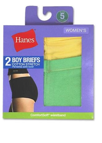 Hanes Women's Cotton Stretch Boy Brief Panty, Assorted, 9 (Pack of 2)