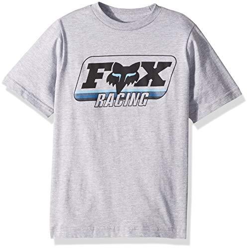 (Fox Boys' Big Youth Throwback Short Sleeve T-Shirt, Grey/Blue, YM)