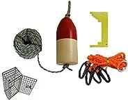 KUFA Crabbing Accessory kit (100' Lead Rope,Clipper,Harness,Bait cage & Floa
