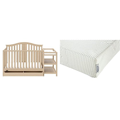Natural Crib Drawer - Graco Solano 4-in-1 Convertible Crib and Changer with Drawer, Driftwood with Graco Natural Organic Foam Crib and Toddler Mattress