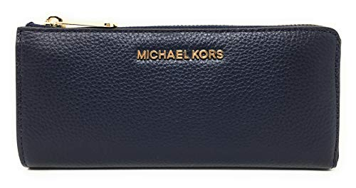 Michael Kors Jet Set Large Three Quarter Zip Around Pebbled Leather Wallet (Navy) ()