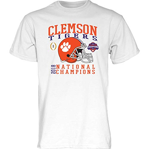 Elite Fan Shop Clemson Tigers National Champs Tshirt 2018-2019 White Helmet - M