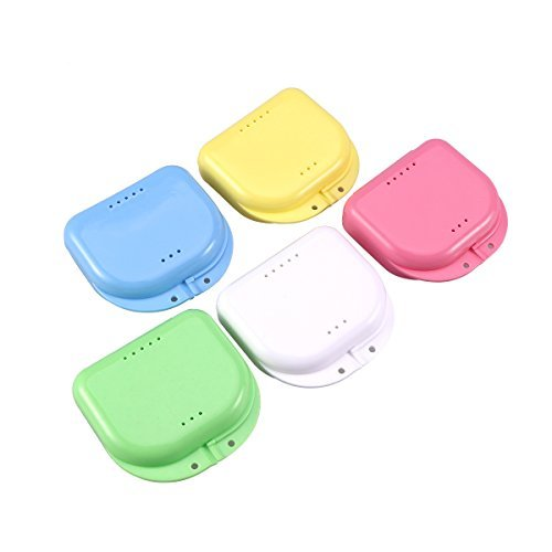 ULTNICE 5pcs Denture Storage Container Dental Retainer Box Retainer Case With Vent Holes