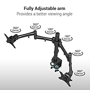 """Loctek D2D Dual Arm Desk Monitor Mount LCD Stand Fits 10""""-27 """" Computer Screen, Full Motion Clamping 22 lbs. per Arm"""