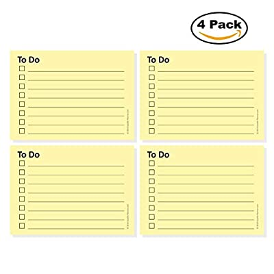 """Gazelle Planner """"To Do"""" Sticky Notes, 2 7/8"""" in x 4 in, Checklist with Lines, 4 Pads/Pack, 100 Sheets/Pad, 400 Total Sheets"""