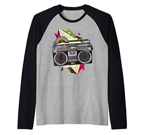 Throwback Color Explosion Boom Box Raglan Baseball Shirt, S to 2XL