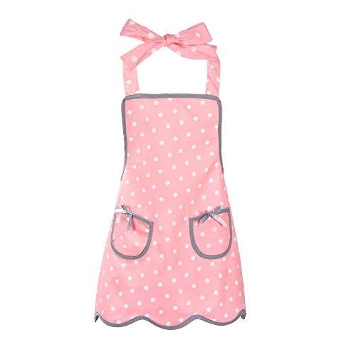 Sevenstars 100% Cotton Kids Girls Aprons with 2 Pockets,Pink Polka Dots Cute Baking Apron Adjustable Kitchen Aprons for Children Daughters Little ()