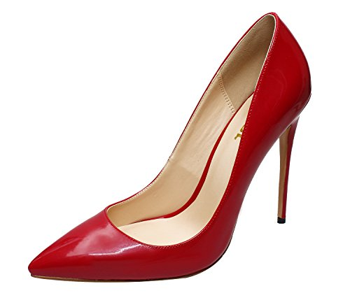 Guoar Dames Stiletto Big Size Schoenen Puntige Teen Dames Solide Pumps Voor Werk Plaats Jurk Partij A-scarlet Patent