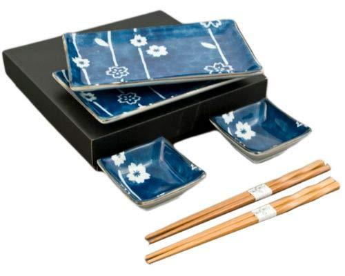 (Japanese 6 Piece Dinner Set Rectangular Sushi Plate Bowl Chopsticks Dinner Set for Two Gift Boxed Made In Japan (Blue Sakura))
