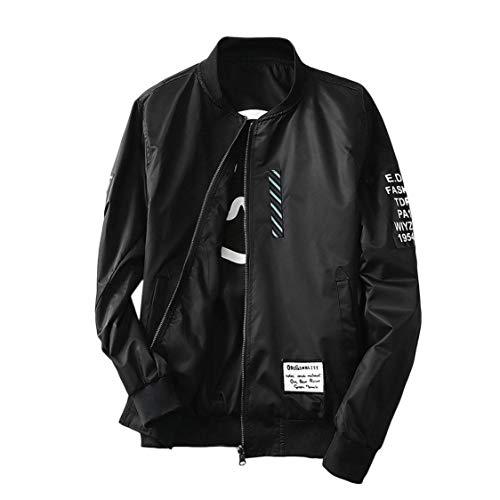 VIGE Chaqueta de bombardero Chaqueta de moda para hombre con parches Ambos usan una chaqueta de bombardero fino Folleto...