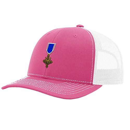 Richardson Trucker Hat Distinguished Service Cross Embroidery Unit Polyester Baseball Mesh Cap Snaps - Hot Pink/White, Design Only
